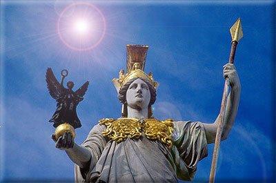 她就是智慧与知识女神雅典娜,也是雅典的守护神.