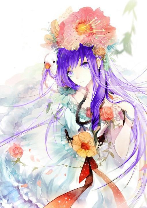紫瞳紫发古风少女