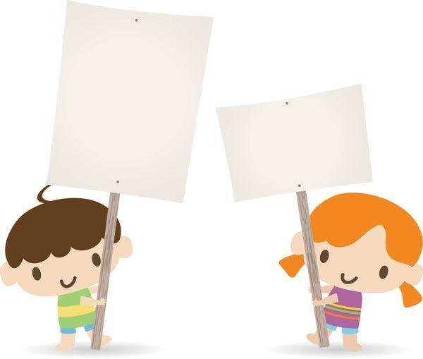 小孩子举牌子怎么画 - 中国广告知道网