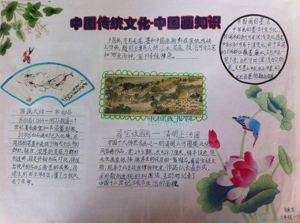 小学4年级上册中国画传统我知道手抄报